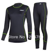 CHEJI 2013 Women Long Sleeve Long pants Thermal Fleece Underwear Green  color Free Shipping Winter Base Layer
