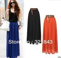 2014 Hot NEW ARRIVAL girl dresses Fashion Woman Pleated Chiffon Long Skirt bohemian Vintage 21 colors free ship