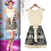 Spring fashion star style women chiffon  print sleeveless  patchwork bow belt beige O-neck one-piece dress