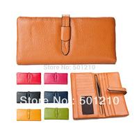 Popular Women's 100% Genuine Leather Cowhide Wallet Purse, 1 Zipper Coins Pocket, 1 Photo Holder, 12 Card slot