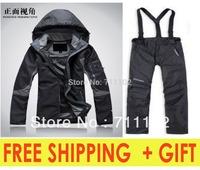 NEW women's winter sets clothes jackets outdoor black rose red blue sports coat brand hood pants autumn fur fleece A+++ classic