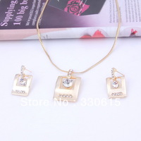 new arrival free shipping 2013 Fashion18K Gold Plated heart necklaces & pendants earring Wedding Bridal accessories Jewelry Set
