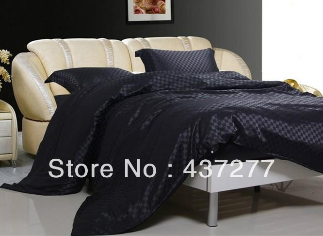 men luxury black plaid bedroom bedding set textile silk cotton fabric