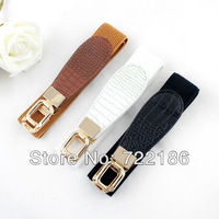 Hot Sale Latest Fashion Design Loop Buckle Three Colors Option Elastic Stretch Girls Belt