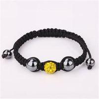 Lemon shamballa bracelet fashion jewelry clay crystal jewel charm disco ball bead handmade shamballa rhinestone jewelry