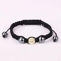 Light yellow shamballa jewelry fashion clay crystal rhinestone jewel charm disco ball bead handmade brocade bracelet