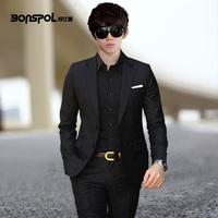 free shipping men wedding business suit jacket +pant set blazer formal male suits male casual slim men's clothing