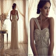 Free Shipping Beach Casual One Shoulder Bohemian Swarovski Crystal Wedding Dresses(China (Mainland))