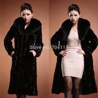 Fashion outerwear mink fur overcoat Women mink fur coat