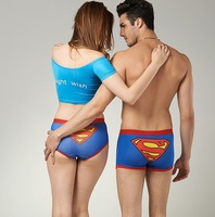 Free shipping High Quality 100% Cotton Cartoon Ladies' and Men's Boxers / Male Underwear Supermen (Blue/Black/Yellow)