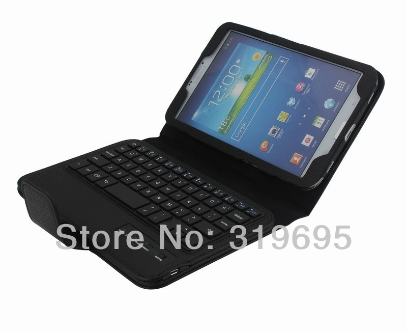 Removable Bluetooth Wireless Keyboard Leather Case Pouch Bracket Stand For Samsung GALAXY Tab 3 8.0 T310/T311(China (Mainland))