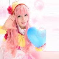 AKB0048 Orine Aida Long Pink Curly Wave Cosplay Wigs+Free Cap
