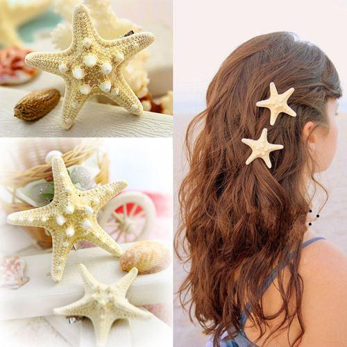 100% NEW! 2pcs/lot Women Girls New Nice Beach Hair Accessory Starfish Sea Star Hair Clip Hairpin Jewelry(China (Mainland))