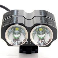 Free shipping 2400LM Cree XM-L T6 x2 LED Bicycle Bike Light Headlight Lamp Headlamp Flashlight + 6400mAh Battery Pack