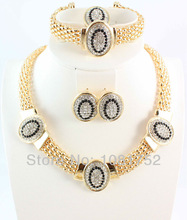 Free Shipping 18K Gold Plated Vintage Black Clear Rhinestone Necklace Set 4 Pcs Top Quality Gold