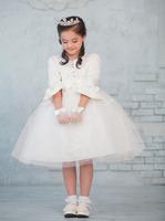 Child formal dress female child princess dress flower girl tulle dress formal dress big bow dress miniskirt long-sleeve child