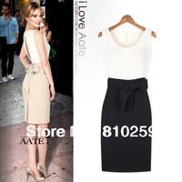 1004 free shipping 2014 women new fashion black beige color block back open bandage bow bodycon chioffon dress OL work dresses