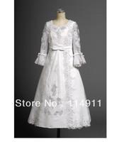 Wholesale - luxury white long sleeve lace applique actual first communion dresses