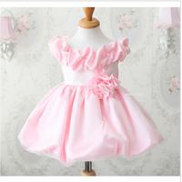 Child princess dress puff skirt one-piece dress female child wedding pink bubble skirt