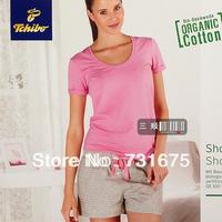 Tc women's 100% cotton comfortable pink t-shirt grey shorts sleepwear set lounge