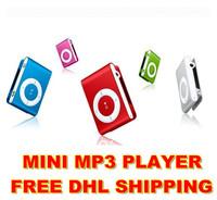 Wholesale MINI clip MP3 Player Micro TF/SD card slot mp5 mini MP3 earphone+usb1GB 2GB 4GB 8GB 300pcs free dhl shipping