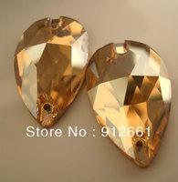 Free shipping(36pcs/lot)Crystal golden shadow PEAR shape w-3230 Sew On rhinestone Flat Back rhinestone 17*28mm