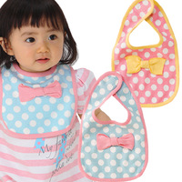 Free shipping baby bowknot dot  bibs with magic button Infant lovely  saliva towels  super soft Baby burp cloths