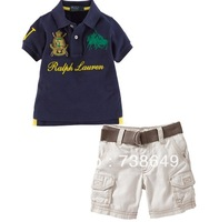 2014 Summer baby boys casual polo t shirt + short 2pcs set handsome child turn-down collar short-sleeve T-shirt jeans suit