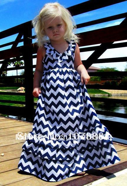 Free Shipping Fashion Girls Chevron Dresses Bohemian Baby Girls Kids Cotton Beach Dress Children Clothing(China (Mainland))