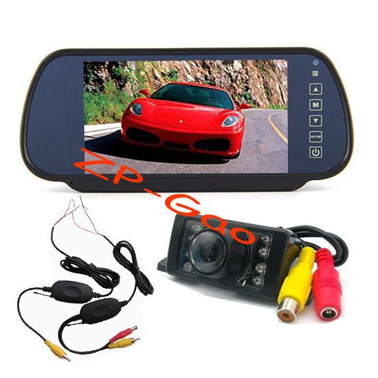 "7 LED IR night vision Wireless Reversing Camera Waterproof + 7"" LCD Monitor Mirror Kit Car Rear View Free Shipping(China (Mainland))"