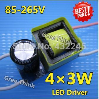 10pcs/lot. 4x3w led-treiber, 12w transformatoren, 12w-led-treiber, 12w leistungstreiber 85-265v Eingang für e27 gu10 e14 led lampe, freeship