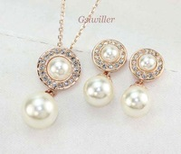 18K Gold Plated Free Shipping fashion crystal nacklace and earrings set Italina Rigant imitation pearl Jewelry Set wholesaleGift