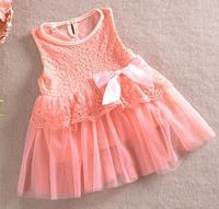 Free shipping 5 pcs/lot Children Princess dress For Girl Sleeveless Bow Lace Dress Girl dress