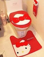 P2 Plush Hello kitty bathroom three pieces set  toilet lid cover + toilet seat cover  + bathroom carpet , Free shipping