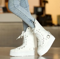Punk rivet front strap flat heel platform boots martin  motorcycle  autumn and winter female