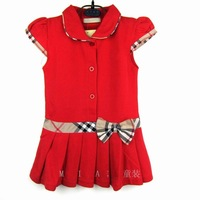 Free shipping 2013 new kids party pretty red dresses for girls for children 2014 white tennis elegant fashionable summer