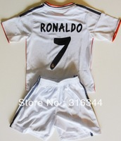 Hot sell 13/14 thai quality real madrid home white 7# RONALDO kids soccer football jersey+shorts kits, children soccer Uniforms
