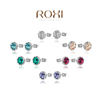 ROXI Christmas Gift Classic Genuine Austrian Crystals White Stud Earrings,Gift to Girlfriend 100% Hand Made,2020905210