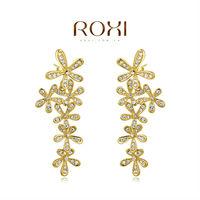 ROXI Christmas Delicate Large Zircon Earrings Gift Girlfriend Handmade Fashionable Yellow Gold Plated Flower Jacket Earrings