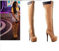 sexy winter boots designer women thigh high boots new 2013 brown lace up boot high heel platform bootie
