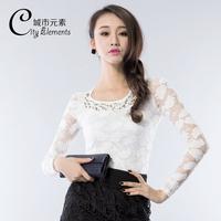 Rewi 2013 autumn silver white pearl decoration lace long-sleeve slim shirt female basic shirt