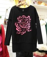 2013 loose basic shirt three-dimensional rose batwing shirt t-shirt female