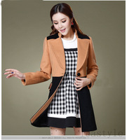 Leastyle fashion women wool overcoat lady patchwork blends long coat