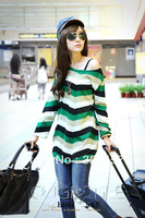 FREE SHIPPING Women's Plus Size T Shirt Tops Fashion 2014 Striped Tees Shirts For Woman Winter Designer Long Sleeve Flannel Tops