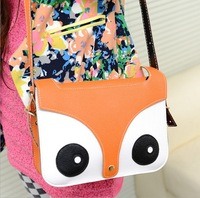Fashion Style Retro Leather Cute Color Ladies Owl Shoulder Clutch Bag Cartoon Fox Print Flap Bag Casual Messenger