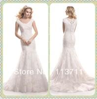 Seductive Scoop Neck  Court Train Mermaid  Lace Modest Wedding Gowns  Short Sleeves
