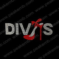 New Arrival 50Pcs/Lot Fashion High Heel Divas Hot Fix Rhinestone Transfer Iron On Motif Wholesale Free Dhl Shipping