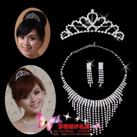 Lace rhinestone big train wedding dress formal dress necklace rhinestone bride drop earring no pierced long design