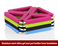 2pcs/lot High quality Stainless steel silica gel mat pot holder heat insulation pad coasters folding pot holder