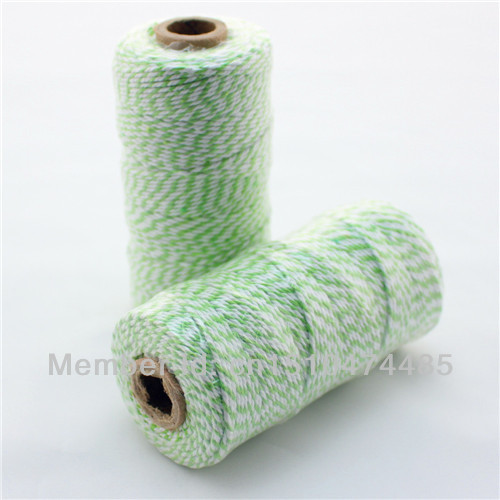 21Spools Colorful Grass Green Cotton Baker's/Bakery Twines Rope for House Paper and Wooden Creative Products Decoration(China (Mainland))